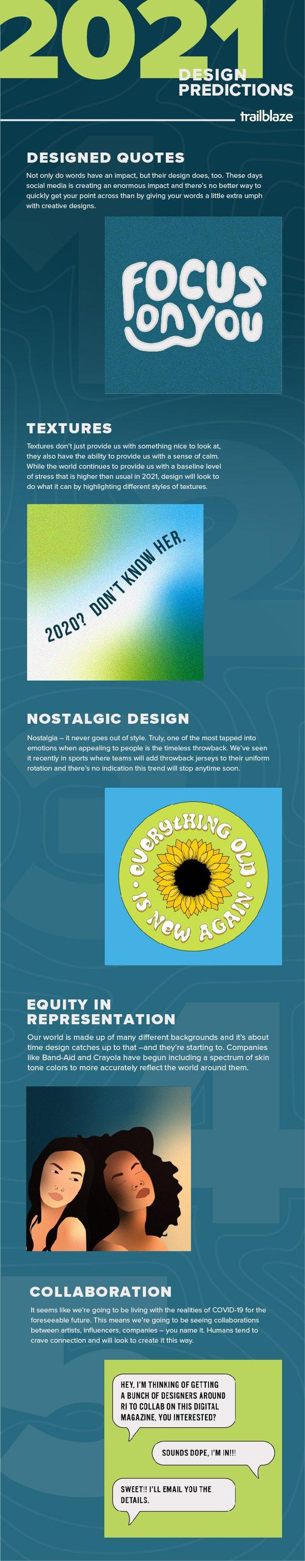 Design Trend Predictions for 2021; Designed Quotes; Textures; Nostalgic Design; Equity in Representation; Collaboration