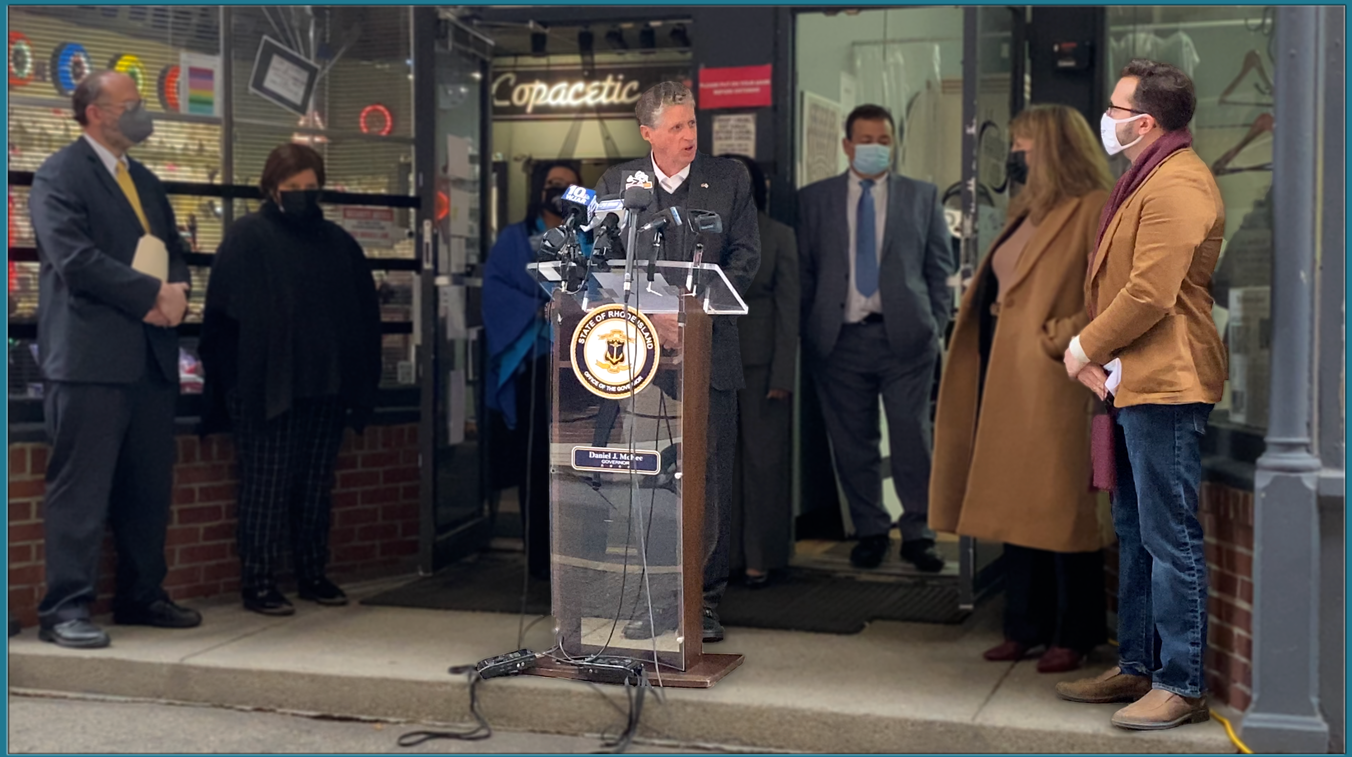 Governor Dan McKee addresses the crowd on April 12, 2021 and announces the Rhode Island Small Business Relief Grant